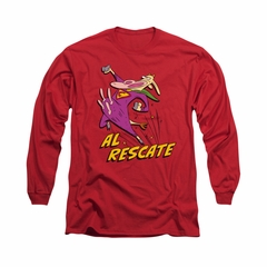 Cow & Chicken Shirt Al Rescate Long Sleeve Red Tee T-Shirt
