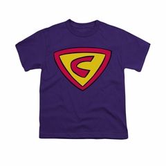 Cow & Chicken Shirt Kids Super Cow Logo Purple Youth Tee T-Shirt