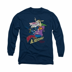 Cow & Chicken Shirt Super Cow Long Sleeve Navy Tee T-Shirt