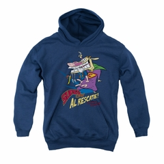Cow & Chicken Youth Hoodie Super Cow Navy Kids Hoody