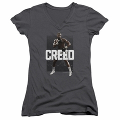 Creed Juniors V Neck Shirt Adonis Johnson Final Round Charcoal T-Shirt