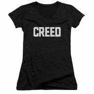 Creed Juniors V Neck Shirt Cracked Logo Poster Black T-Shirt