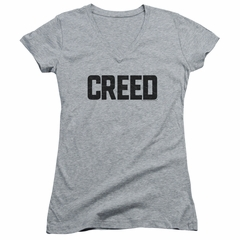 Creed Juniors V Neck Shirt Cracked Movie Logo Athletic Heather T-Shirt