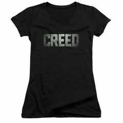 Creed Juniors V Neck Shirt Logo Black T-Shirt