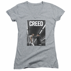 Creed Juniors V Neck Shirt Movie Poster Athletic Heather T-Shirt