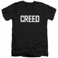 Creed Slim Fit V-Neck Shirt Cracked Logo Poster Black T-Shirt