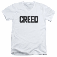 Creed Slim Fit V-Neck Shirt Cracked Logo White T-Shirt