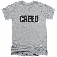Creed Slim Fit V-Neck Shirt Cracked Movie Logo Athletic Heather T-Shirt