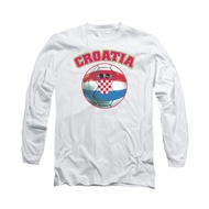 Croatia Soccer Futbol Shirt Long Sleeve White Tee T-Shirt