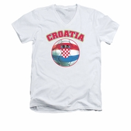 Croatia Soccer Futbol Shirt Slim Fit V Neck White Tee T-Shirt
