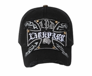 Cross Design Distressed Hat - Lackpard Cap - Black