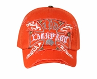 Cross Design Distressed Hat - Lackpard Cap - Orange
