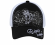 Crowned Princess Hat with Rhinestones - Mesh Back Lackpard Cap - Black