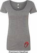 Crystal Tongue Patch Bottom Print Ladies Scoop Neck Shirt