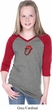 Crystal Tongue Patch Middle Print Girls Three Quarter Sleeve V-Neck