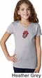 Crystal Tongue Patch Middle Print Girls V-Neck Shirt