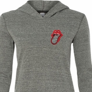 Crystal Tongue Patch Pocket Print Ladies Tri Blend Hoodie Shirt