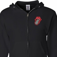 Crystal Tongue Patch Pocket Print Mens Full Zip Hoodie
