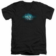 CSI Cyber Shirt Slim Fit V-Neck Thumb Print Black T-Shirt