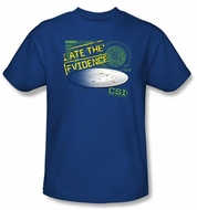 CSI T-shirt - I Ate The Evidence Adult Royal Blue Tee