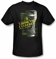 CSI T-shirt - I Drank The Evidence Adult Black Tee