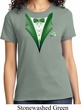 Dark Green Tuxedo Ladies Shirt