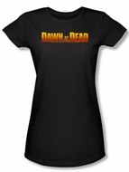 Dawn Of The Dead Juniors T-shirt Movie Dawn Logo Black Tee Shirt