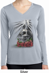 Day of the Dead Candle Skull Ladies Dry Wicking Long Sleeve Shirt