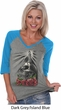 Day of the Dead Candle Skull Ladies Three Quarter Sleeve V-Neck Raglan