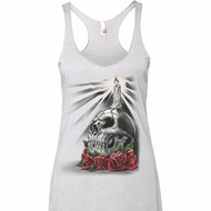 Day of the Dead Candle Skull Ladies Tri Blend Racerback Tank Top