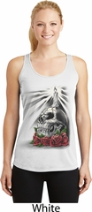 Day of the Dead Candle Skull Ladies White Dry Wicking Racerback Tank