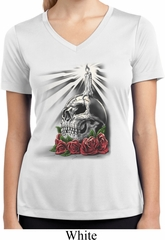 Day of the Dead Candle Skull Ladies White Moisture Wicking V-neck