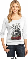 Day of the Dead Candle Skull Ladies White Three Quarter Sleeve Scoop