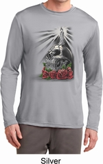 Day of the Dead Candle Skull Mens Dry Wicking Long Sleeve Shirt