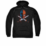 Deathstroke Hoodie Sweatshirt Crossed Swords Black Adult Hoody Sweat Shirt
