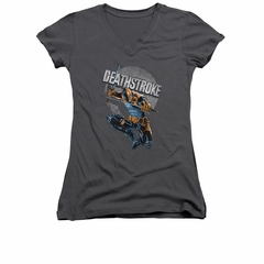 Deathstroke Shirt Juniors V Neck Retro Charcoal Tee T-Shirt