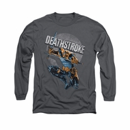 Deathstroke Shirt Retro Long Sleeve Charcoal Tee T-Shirt