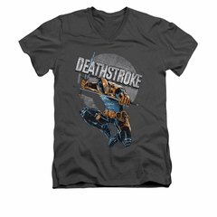 Deathstroke Shirt Retro Slim Fit V Neck Charcoal Tee T-Shirt