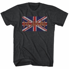 Def Leppard Shirt Distressed Flag Charcoal T-Shirt
