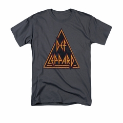 Def Leppard Shirt Distressed Logo Charcoal T-Shirt