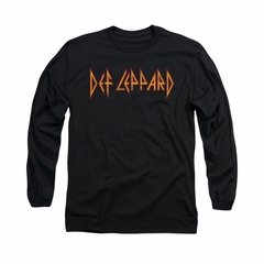 Def Leppard Shirt Horizontal Logo Long Sleeve Black Tee T-Shirt