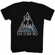 Def Leppard Shirt USA Tour 1980 Black Tee T-Shirt
