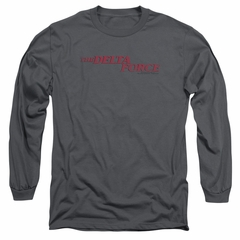 Delta Force Long Sleeve Shirt Distressed Logo Charcoal Tee T-Shirt