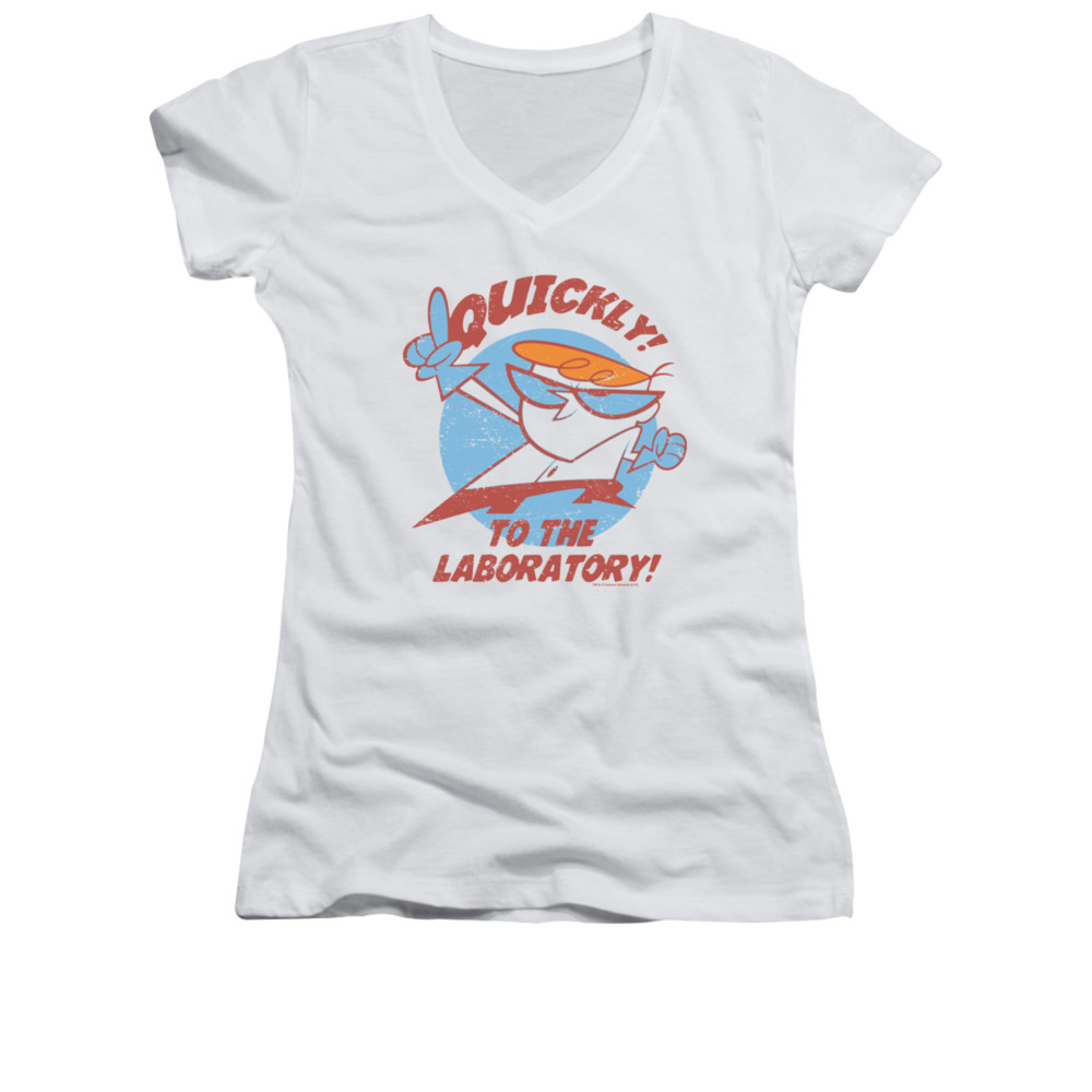 dexter 39 s laboratory shirt juniors v neck quickly white tee