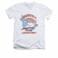 Dexter's Laboratory Shirt Slim Fit V Neck Quickly White Tee T-Shirt