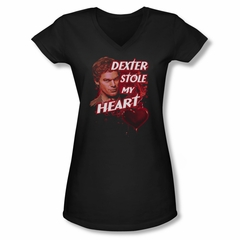 Dexter Shirt Juniors V Neck Stole My Heart Black T-Shirt