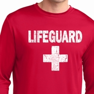Distressed Lifeguard Mens Dry Wicking Long Sleeve Shirt