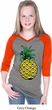 Distressed Pineapple Girls Three Quarter Sleeve V-Neck Raglan Shirt