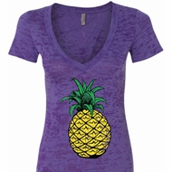 Distressed Pineapple Ladies Burnout V-neck Shirt