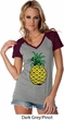 Distressed Pineapple Ladies Contrast V-Neck Shirt